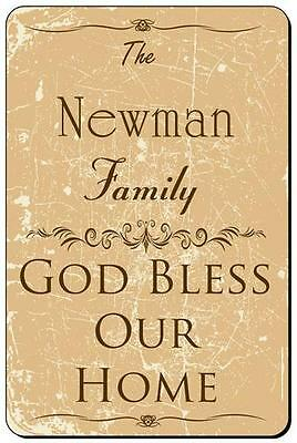 NEWMAN Family Name Metal Plaque Sign God Bless Our Home home decor 8x12 FS-004