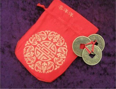 Feng Shui - Large I Ching - 3 Lucky Coins with Wealth Pouch