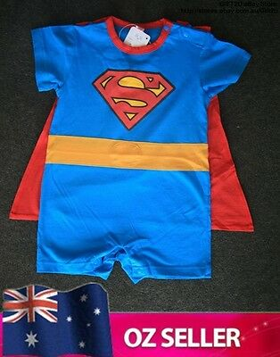 One piece Baby Romper T-shirt costume - Superman with removable cape - Boy/Girl