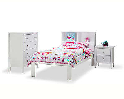 WHITE Timber Wood Single Storage Bookcase Bed Frame Kids Children Boys Girl