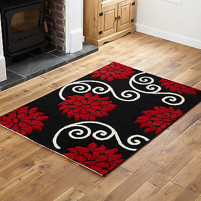 Small X Extra Large Modern Rugs - Black And Red Design Quality Rug