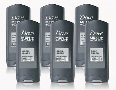 6 Pack Dove Men+Care Body and Face Wash, Odor Guard, 1.8 Ounces