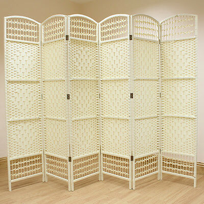 Cream 6 Panel Wicker Room Divider Hand Made Privacy Screen/Separator/Partition