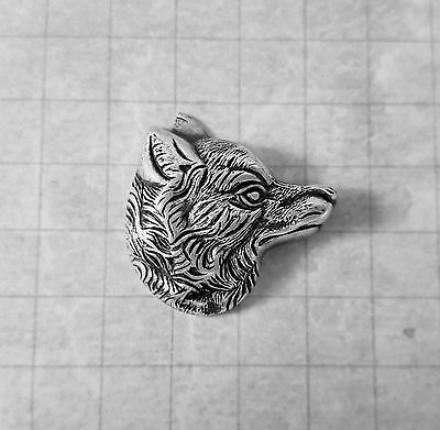 Oxidized Silver Plated Brass Wolf Head Stamping (1) - SORAT6558
