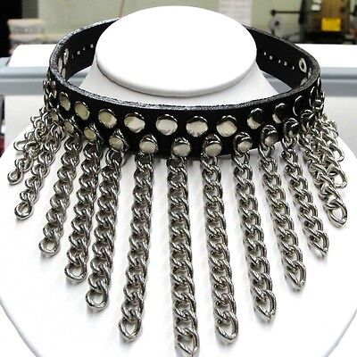 Black Genuine Leather Choker with Hanging Chains Punk Gothic Rock Star USA Made