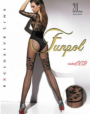 "WOMEN LADIES BLACK PATTERNED TIGHTS 20 Denier  ""model 009"" Funpol SIZE M-XL"