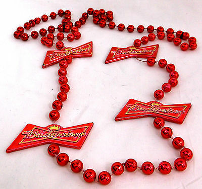 NIB BUDWEISER Beer Charm Red Beads Necklace Party Favor Jewelry July 4TH