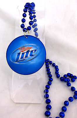 NIB MILLER LITE Beer Charm Blue Beads Necklace Party Favor Jewelry