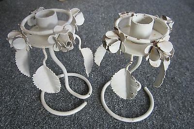 VINTAGE PAIR ITALIAN TOLE CANDLESTICK HOLDERS FLORAL SHABBY/COTTAGE CHIC CHIPPY