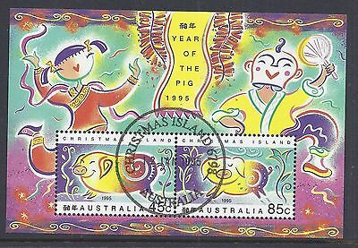 1995 Christmas Island Year Of The Pig Minisheet Fine Used