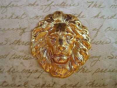 Large Raw Brass Lion Head Stampings (1) - SG7856 Jewelry Finding