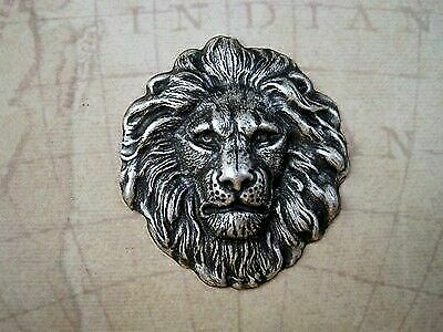 Large Oxidized Silver Plated Brass Lion Head Stamping (1) - SOSG7856