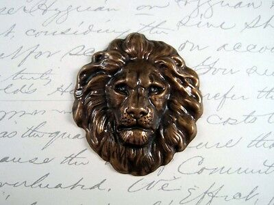 Large Antiqued Brass Lion Head Stamping (1) - ANTSG7856