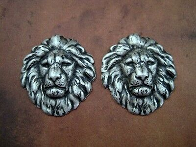 Oxidized Silver Plated Brass Lion Head Stampings (2) - SOSG7857