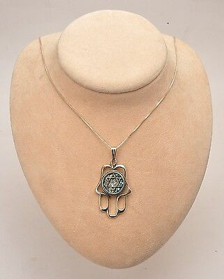 Roman Glass Hamsa Hand With Magen David In Necklace Sterling Silver 925