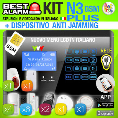 Antifurto Kit N3 Plus Allarme Casa Combinatore Gsm Pir Wireless  Antijamming