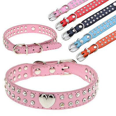 2 Rows Diamante Rhinestones PU Leather Dog Puppy Cat Collars with Heart Charm