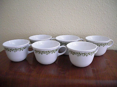 Set of 6 Vintage Corelle Coffee Mugs Cups ~ Crazy Daisy Green Spring Blossom