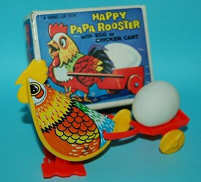 70s VINTAGE HAPPY PAPA ROOSTER with EGG CART TIN LITHO WIND UP HONG KONG BOXED