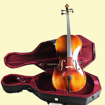 Student 4/4 Cello SET -Bridge+Rosin+Bow +Gig Bag+Wheeled Case FREE SHIPPING 2AU
