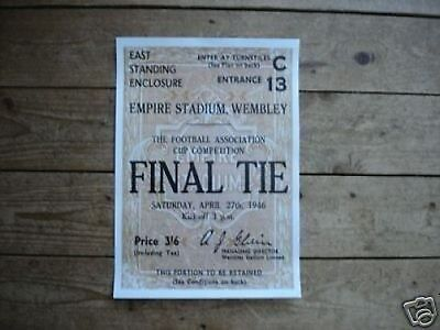 1946 FA Cup Derby County Charlton POSTER of Ticket