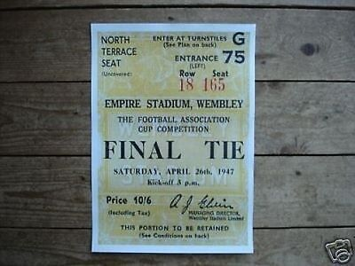 1947 FA Cup Charlton Athletic Burnley POSTER of  Ticket