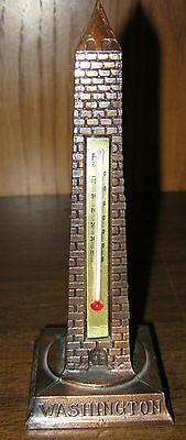 """Miniature Die Cast Washingtom Memorial Tower Thermometer - 6"""" tall"""