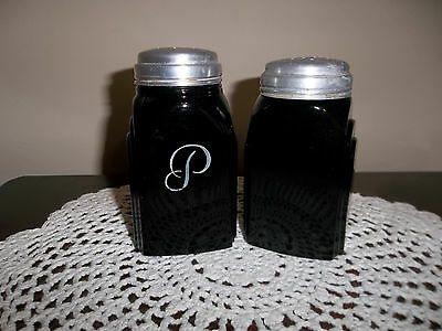 VINTAGE MCKEE BLACK MILK GLASS SALT AND PEPPER SHAKERS