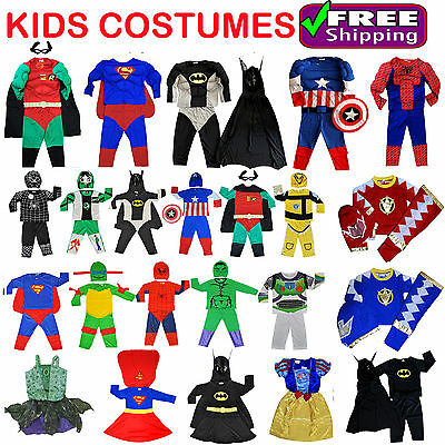 New Size 1-10 Kids Children Superhero Party Costumes Birthday Boys Girls Toddler