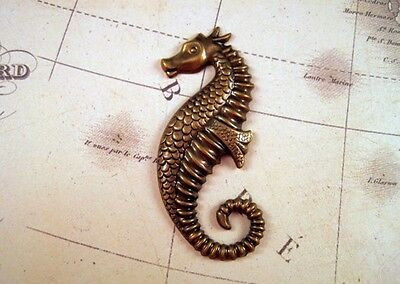 Large Antiqued Brass Seahorse Stamping (1) - ANTS4251 Jewelry Finding