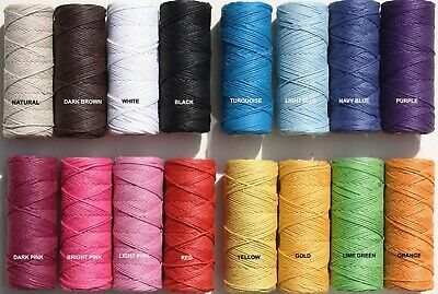 Hemp Twine  60 Metre x 1MM  light Waxed coating  20LB BREAK S - 2 Strand