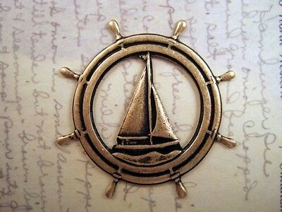 Oxidized Brass Plated Sailboat And Wheel Stamping (1) - BOS4916