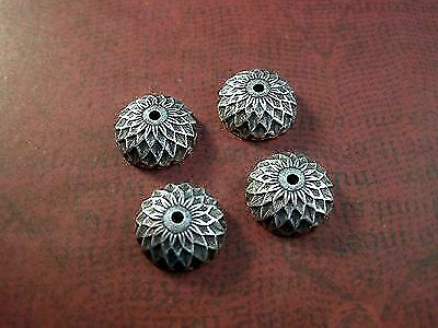 Oxidized Silver Plated Brass Acorn Bead Cap Stampings (4) - SOS3907