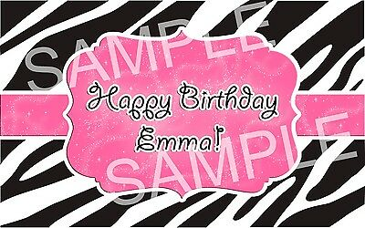 PINK ZEBRA PARTY Edible Cake Topper Frosting Sheet Image PERSONALIZED!