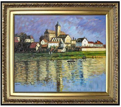 Framed Claude Monet Vetheuil, the Church Repro Hand Painted Oil Painting 20x24in