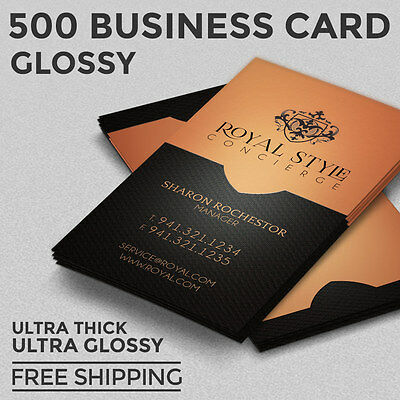 500 Business Card Printing - Custom - 16pt Ultra Gloss - Full Color