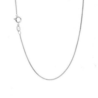 Solid 14k White Gold BOX Chain 14kt box necklace Made in ITALY **HIGH QUALITY**