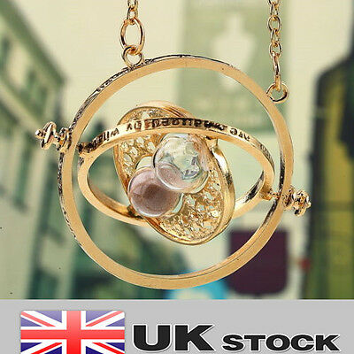Harry Potter Gold Time Turner Necklace Hermoine Granger Rotating Spins Hourglass