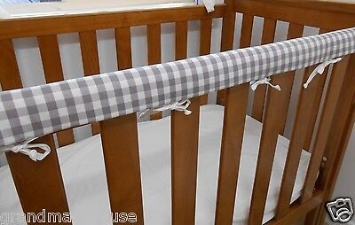 Baby Cot Crib Rail Cover Teething Pad Grey Gingham 100% Cotton **REDUCED**