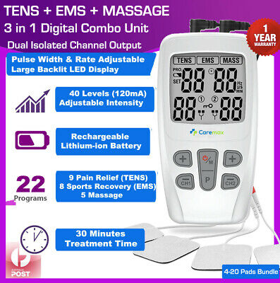 Dual Ch TENS Machine EMS 3 in 1 Combo Unit Pain Relief Massager w/ Extra Pads