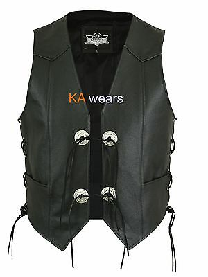 Biker Waistcoat Real Cowhide Leather Black Vest Side Pockets Laced Button Style