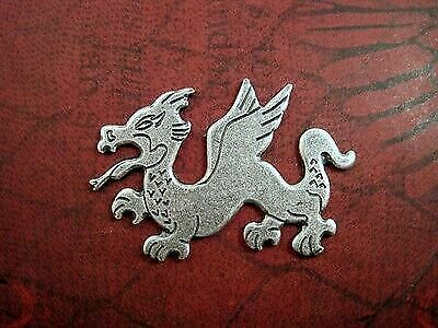 Large Oxidized Silver Plated Solid Brass Dragon Stamping (1) - SOS6766