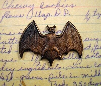 Antiqued Solid Brass Bat Stamping (1) - ANTS6847