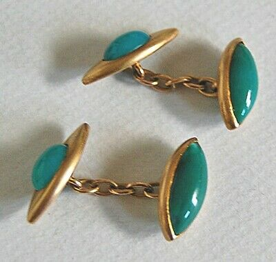 19th Century - Antique Cufflinks with Stone: 14K GOLD & GREEN ONYX        (SS69)