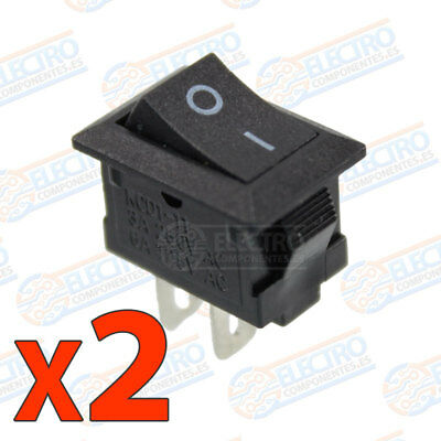 2x MINI interruptor ON OFF NEGRO panel empotrable boton 220v 3A SPST