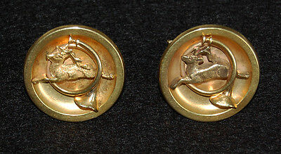 Antique HUNTING MOTIF CUFFLINKS - 14K GOLD, LARGE / ROUND   (Stag & Horn)  (T50)