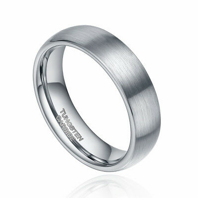 Tungsten Carbide Ring Wedding Band Dome Brushed Titanium Color Men's Women Gift