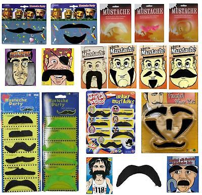Fancy Dress Stick on Moustache Beards Side Burns Gents Eyebrows Handlebar Tashe