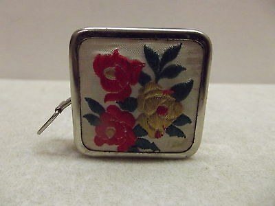 Vintage Tin Embroidered Flowers Br Zone Western Germany Tape Measure