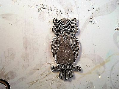 Large Oxidized Silver Plated Brass Owl Head Stamping 1 SOFF1473